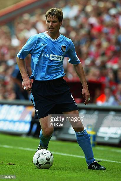Michael Tarnat of Manchester City in action during the FA Barclaycard Premiership match between Charlton Athletic and Manchester City on August 17...