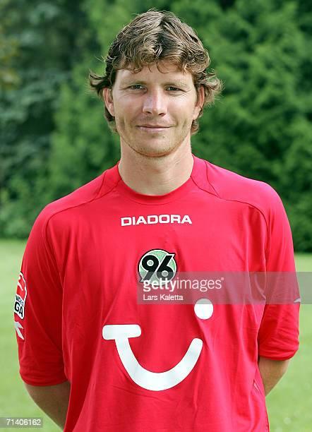 Michael Tarnat poses during the Bundesliga 1st Team Presentation of Hanover 96 on July 7 2006 in Bad Pyrmont Germany