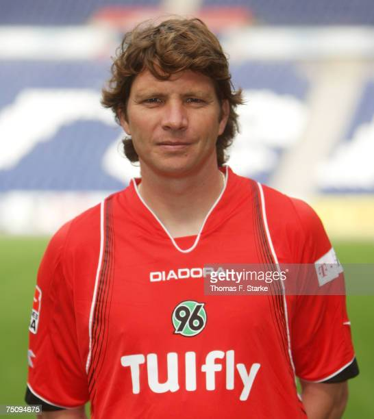 Michael Tarnat poses during the Bundesliga 1st Team Presentation of Hannover 96 at the AWD Arena on July 5 2007 in Hanover Germany