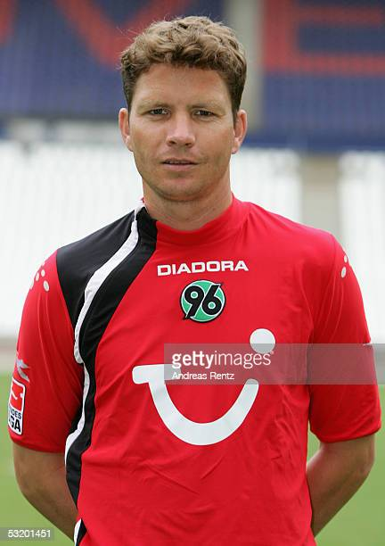 Michael Tarnat poses for a photograph during the Team Presentation of Hanover 96 on July 5 2005 in Hanover Germany