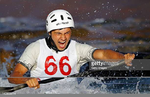 Michael Tayler reacts after his run in the men's K1 of the 2012 US Olympic Trials for Whitewater Slalom at the US National Whitewater Center on April...