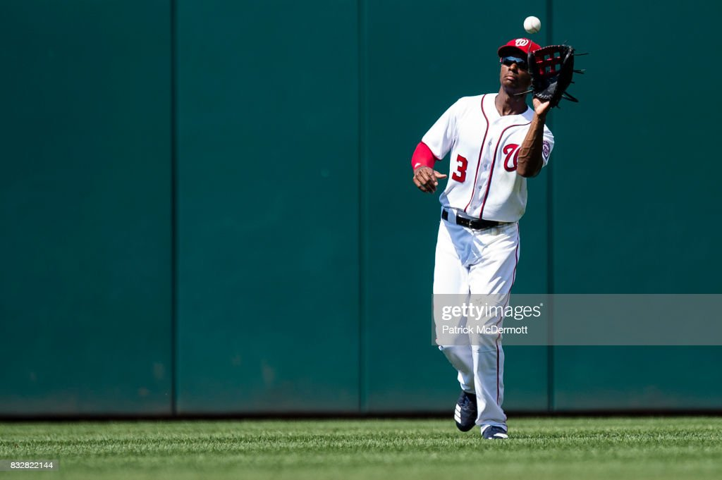 Michael Taylor #3 of the Washington Nationals catches a fly ball hit by Cameron Maybin #9 of the Los Angeles Angels of Anaheim (not pictured) in the eighth inning during a game at Nationals Park on August 16, 2017 in Washington, DC.