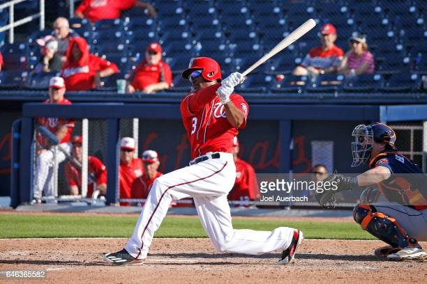 Michael Taylor of the Washington Nationals hits a solo home run in the ninth inning to beat the Houston Astros during a spring training game at The...