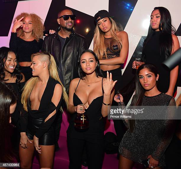 AB Michael 'Taz' Williams Ashley Martelle Cat Kinky Ruby Sayed and Leena Sayed of Taz's Angels attends the Gold Room on October 6 2014 in Atlanta...