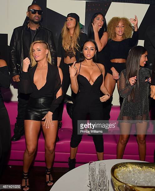 Michael Taz' Williams Ashley Martelle Kinky Cat Leena Sayed AB and Ruby Sayed of the group Tazs Angels attend Gold Room on October 6 2014 in Atlanta...