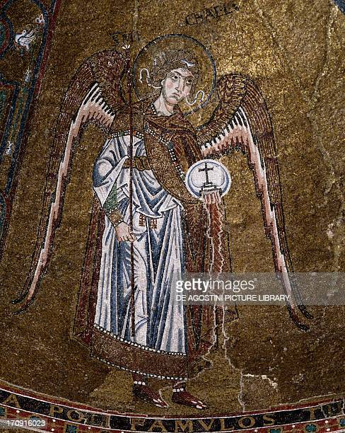 Michael the archangel detail from the Virgin enthroned with archangels and apostles mosaic vault of the left apse Trieste Cathedral Trieste...