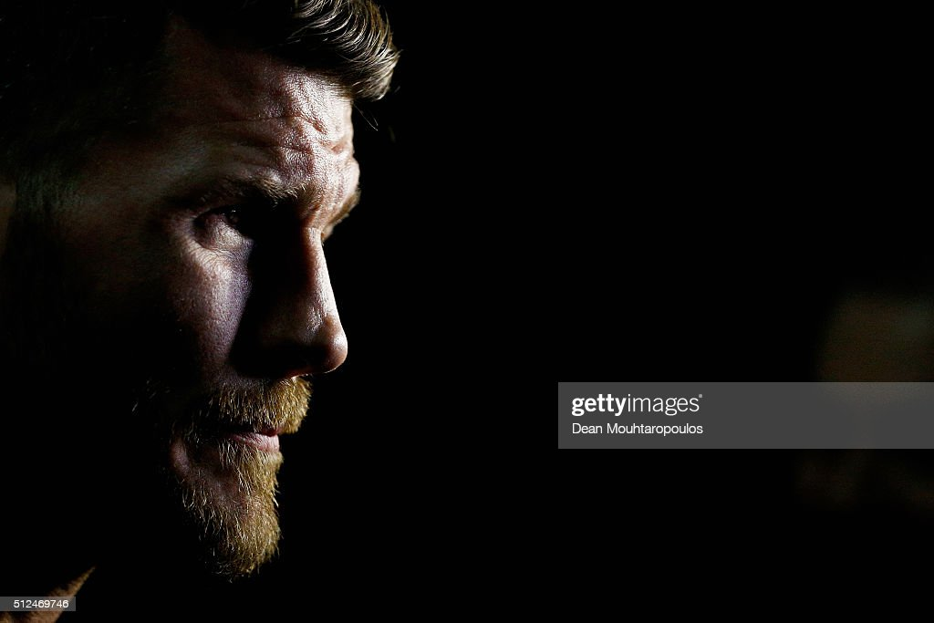 Michael 'The Count' Bisping of England speaks to the media during the UFC Fight Night Weigh-in held at at Indigo at The O2 Arena on February 26, 2016 in London, England. Anderson 'The Spider' Silva of Brazil and Michael 'The Count' Bisping of England will fight tomorrow night in the O2 Arena.