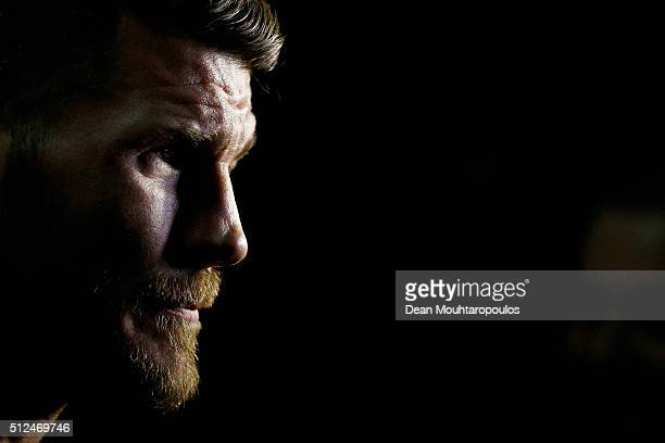 Michael 'The Count' Bisping of England speaks to the media during the UFC Fight Night Weighin held at at Indigo at The O2 Arena on February 26 2016...