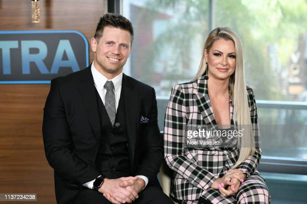 Michael The Miz Mizanin and Maryse Ouellet visit Extra at Universal Studios Hollywood on March 20 2019 in Universal City California