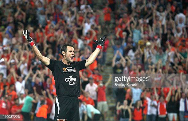Michael Theoklitos of the Roar shows his emotion after saving a crucial goal in a penalty shoot out during the ALeague Grand Final match between the...