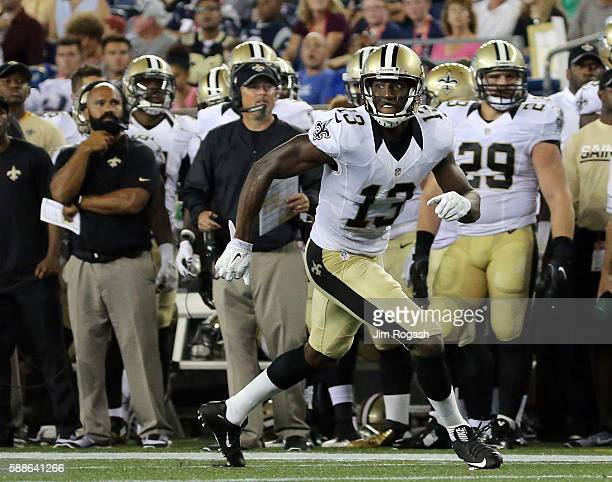 Michael Thomas of the New Orleans Saints attempts to get open during a preseason game with the New England Patriots at Gillette Stadium on August 11...