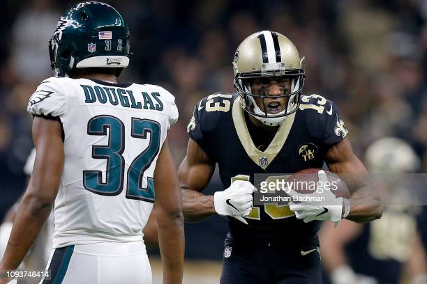 Michael Thomas of the New Orleans Saints celebrates the play against the Philadelphia Eagles during the first quarter in the NFC Divisional Playoff...
