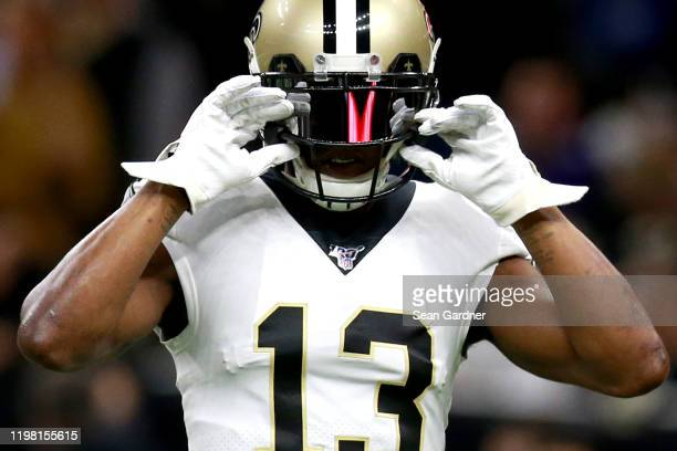 Michael Thomas of the New Orleans Saints in action during the NFC Wild Card Playoff game against the Minnesota Vikings at Mercedes Benz Superdome on...