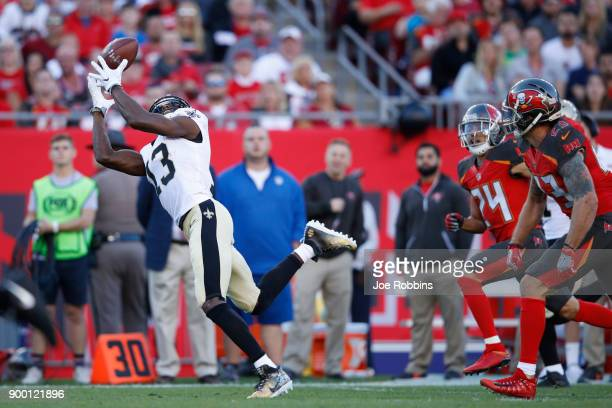 Michael Thomas of the New Orleans Saints makes a 43yard reception behind the defense in the first quarter of a game against the Tampa Bay Buccaneers...