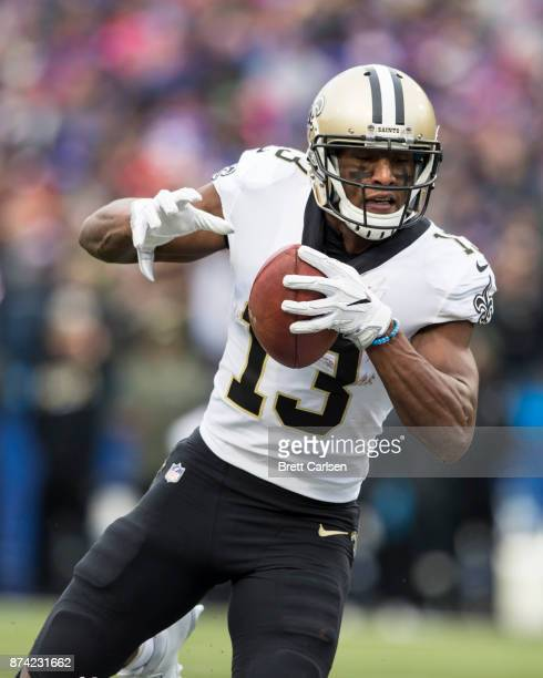 Michael Thomas of the New Orleans Saints makes a first down reception during the second quarter against the Buffalo Bills at New Era Field on...