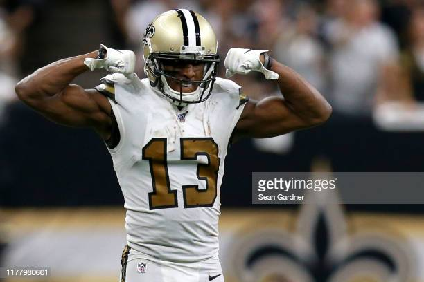 Michael Thomas of the New Orleans Saints reacts after gaining a first down during the second half of a NFL game against the Dallas Cowboys at the...