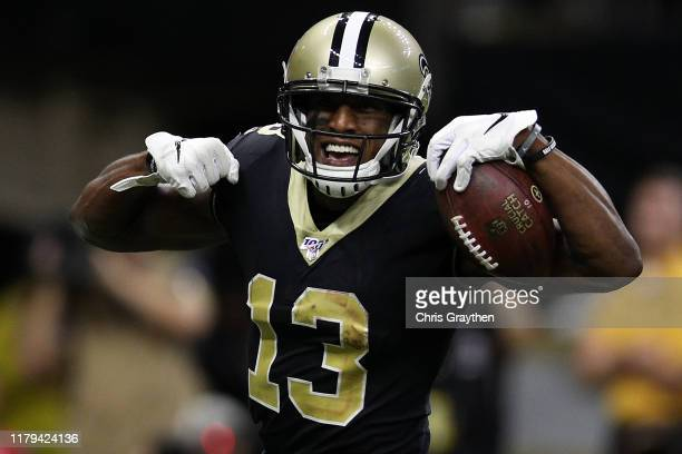 Michael Thomas of the New Orleans Saints reacts after scoring a touchdown against the Tampa Bay Buccaneers at Mercedes Benz Superdome on October 06,...