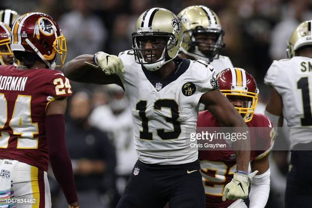 Michael Thomas of the New Orleans Saints reacts during the second half against the Washington Redskins at MercedesBenz Superdome on October 8 2018 in...