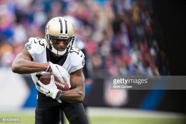 Michael Thomas of the New Orleans Saints runs with the ball during the second quarter against the Buffalo Bills at New Era Field on November 12 2017...