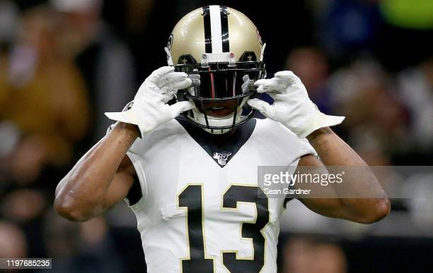 Michael Thomas of the New Orleans Saints warms up during the NFC Wild Card Playoff game against the Minnesota Vikings at Mercedes Benz Superdome on...