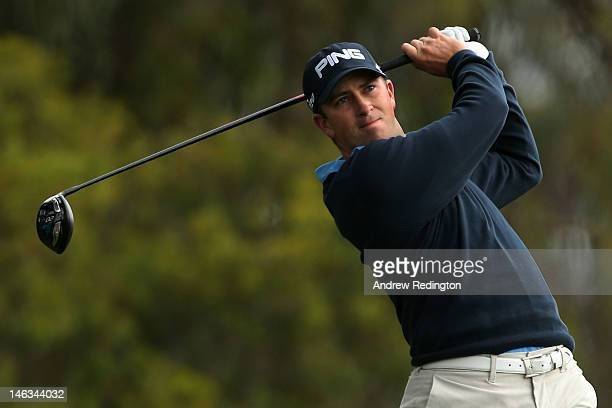 Michael Thompson of the United States hits his tee shot on the second hole during the first round of the 112th US Open at The Olympic Club on June 14...
