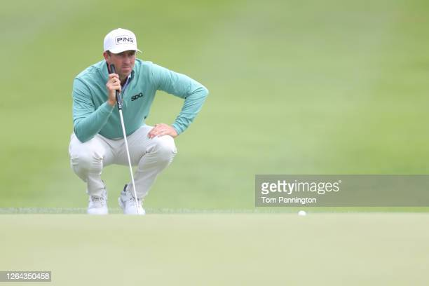 Michael Thompson of the United States lines up a putt during the first round of the 2020 PGA Championship at TPC Harding Park on August 06, 2020 in...