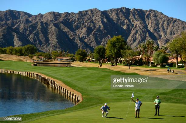 Michael Thompson of the United States sets up a shot on the 5th hole during the third round of the Desert Classic at the Stadium Course on January...