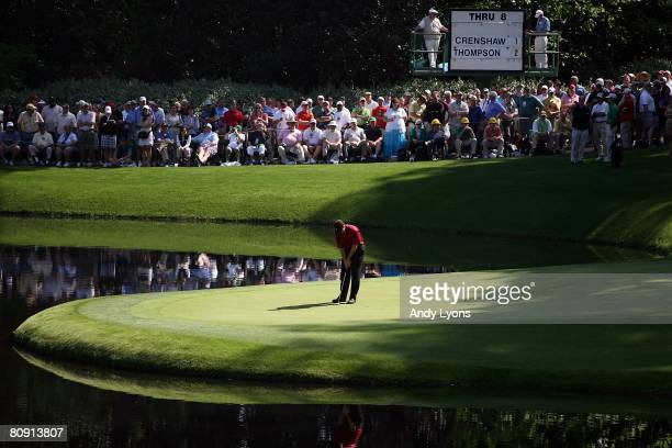 Michael Thompson putts on the 9th green during the Par 3 Contest at the 2008 Masters Tournament at Augusta National Golf Club on April 9 2008 in...