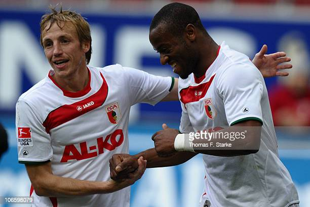 Michael Thurk and Nando Rafael of Augsburg celebrate during the Second Bundesliga match between FC Augsburg and Arminia Bielefeld at the Impuls Arena...