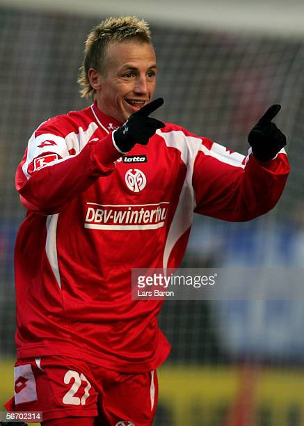 Michael Thurk of Mainz celebrates scoring the first goal during the Bundesliga match between FSV Mainz 05 and 1FC Cologne at the Stadium am Bruchweg...