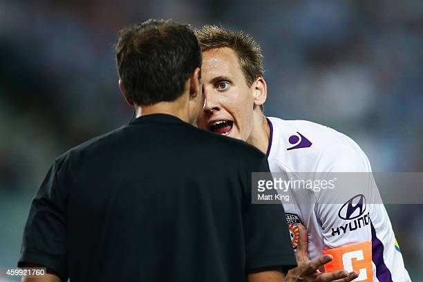Michael Thwaite of Perth Glory argues with the referee after a penalty was given whick led to the first goal during the round 10 ALeague match...