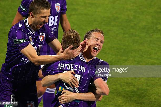 Michael Thwaite of the Glory celebrates with Scott Jamieson after scoring a goal during the round six ALeague match between the Perth Glory and...