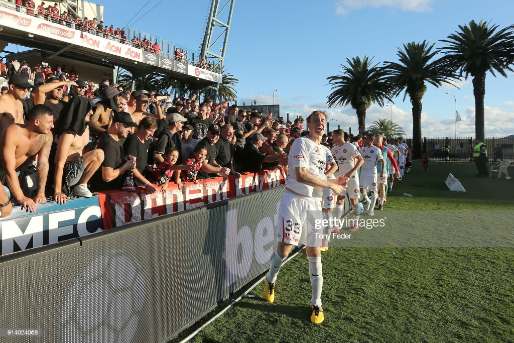 Michael Thwaite of the Wanderers celebrates with fans during the round 19 A-League match between the Central Coast Mariners and the Western Sydney Wanderers at Central Coast Stadium on February 4, 2018 in Gosford, Australia.