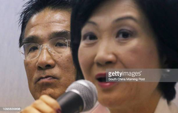 Michael Tien Puksun and New People's Party chair Regina Ip Lau Sukyee announce the Party's revised policy platform in Wan Chai 19SEP15