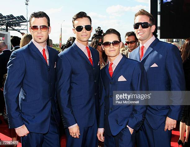 Michael Tierney, Toby Allen, Phil Burton and Andrew Tierney of Human Nature arrive at the ARIA Awards 2006 at the Acer Arena on October 29, 2006 in...