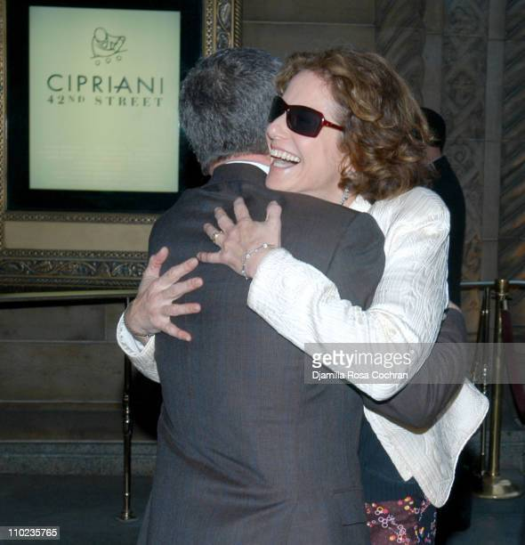 Michael Tilson Thomas and Debra Winger during Michael Tilson Thomas's Birthday Party April 5 2005 at Cipriani in New York City New York United States