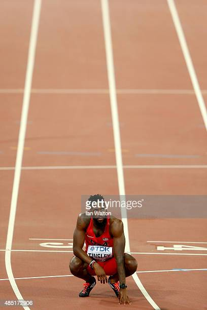 Michael Tinsley of the United States reacts after the Men's 400 metres hurdles final during day four of the 15th IAAF World Athletics Championships...