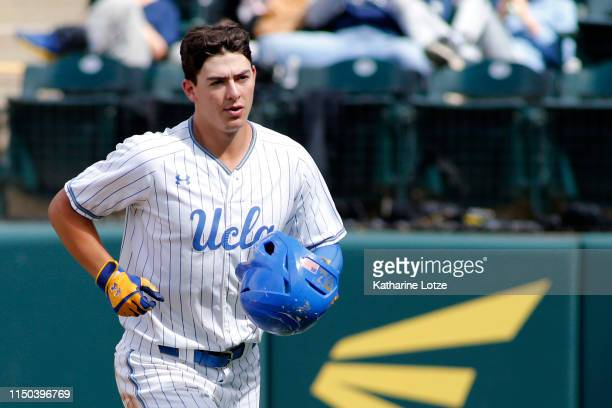 Michael Toglia of UCLA looks to the dugout following his home run during a baseball game against University of Washington at Jackie Robinson Stadium...