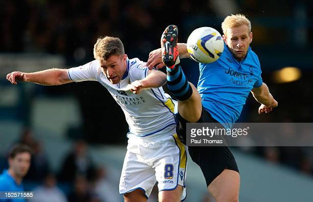 Michael Tonge of Leeds in action with Simon Gillett of Nottingham during the npower Championship match between Leeds United and Nottingham Forest at...