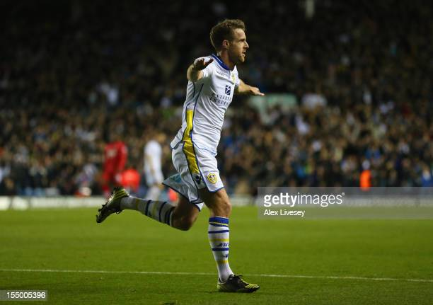 Michael Tonge of Leeds United celebrates scoring the opening goal during the Capital One Cup Fourth Round match between Leeds United and Southampton...