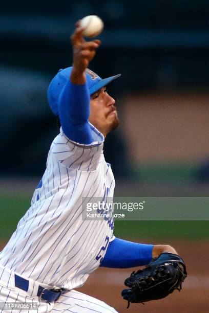 Michael Townsend of UCLA throws a pitch during a baseball game against Long Beach State at Jackie Robinson Stadium on May 07 2019 in Los Angeles...