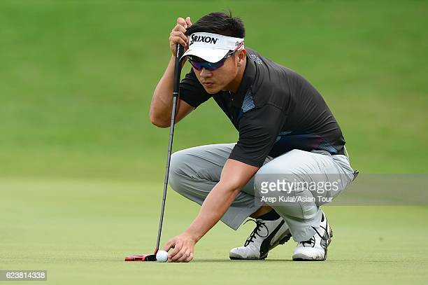 Michael Tran of Vietnam plays a shot during round one of the BANK BRIJCB Indonesia Open at Pondok Indah Golf Course on November 17 2016 in Jakarta...