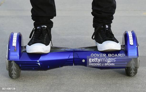 Michael Tran uses his hoverboard on the Venice Beach Boardwalk on December 10 2015 The hot item on many holiday lists will help you zip around town...