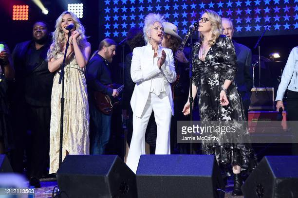 Michael Trotter Jr Joss Sone Derek Trucks Marcus King Cyndi Lauper and Susan Tedeschi perform the finale on stage during the Fourth Annual LOVE ROCKS...