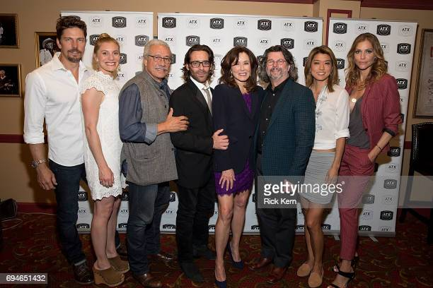 Michael Trucco Katee Sackhoff Edward James Olmos James Callis Mary McDonnell Ronald D Moore Grace Park and Tricia Helfer attend the closing night...