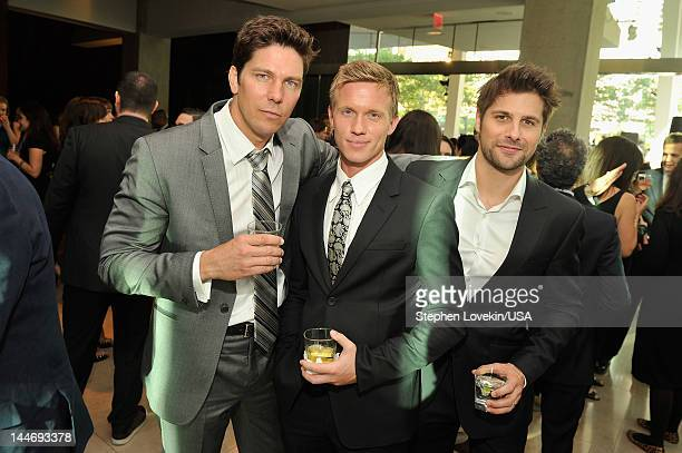 Michael Trucco of Fairly Legal Warren Kole of Common Law and Ryan Johnson of Fairly Legal attend USA Network Upfront 2012 after party at Alice Tully...