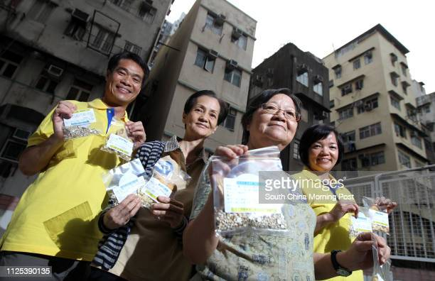 Michael Tsui Helen Lau Cindy Chan Polly Woo posed happily as readymade soup packets and healthy soup recipes were given to participants of Hotmeal...