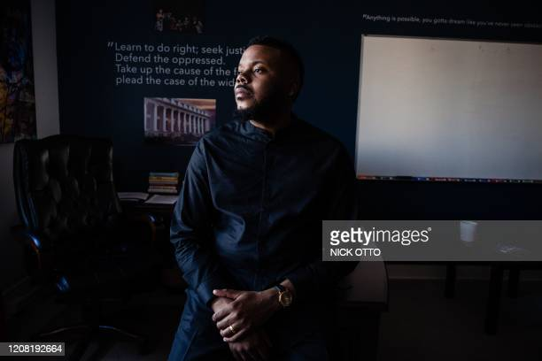Michael Tubbs, Mayor of Stockton, poses for a photograph at his office in Stockton, California on February 7, 2020. - Mayor Tubbs with the help of...