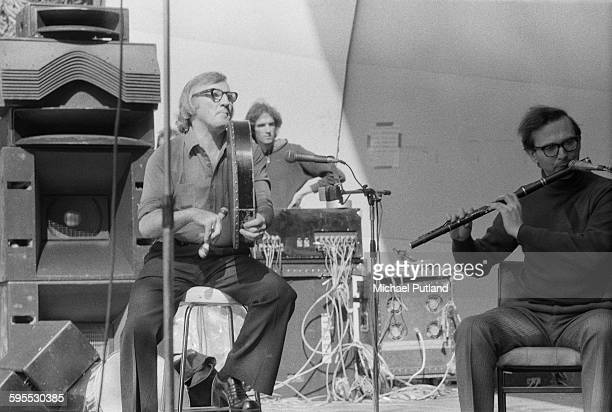Michael Tubridy performing with Irish folk group The Chieftains at the Garden Party IX festival at Crystal Palace Bowl London 31st July 1976