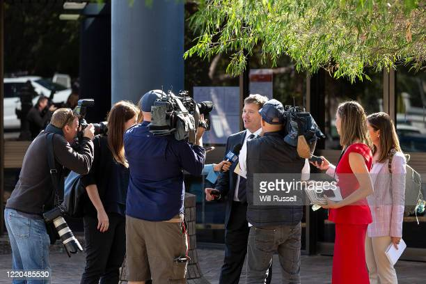 Michael Tudori lawyer for former West Coast Eagles AFL player Ben Cousins speaks to the media outside Armadale Magistrates Court on April 23 2020 in...